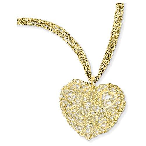 14K Adjustable Triple Strand Heart Necklace