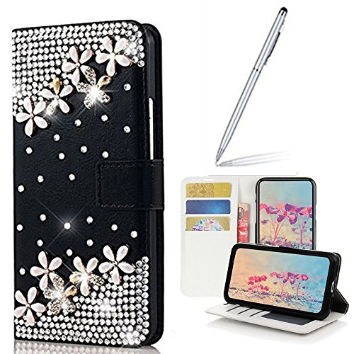 Yaheeda Galaxy S7 Active Case with 2 in 1 Stylus and Ballpoint Pen, [Stand Feature] Butterfly Crystal Wallet Case Premium [Bling Luxury] Leather Flip Cover [Card Slots] For Samsung Galaxy S7 Active by Yaheeda