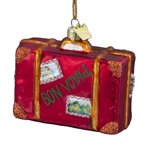 Noble Gems Kurt Adler 3-1/2-Inch Glass Bon Voyage Suitcase Ornament