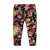 UWESPRING Little Girls Floral Pants with Elastic Waistband Black 8T