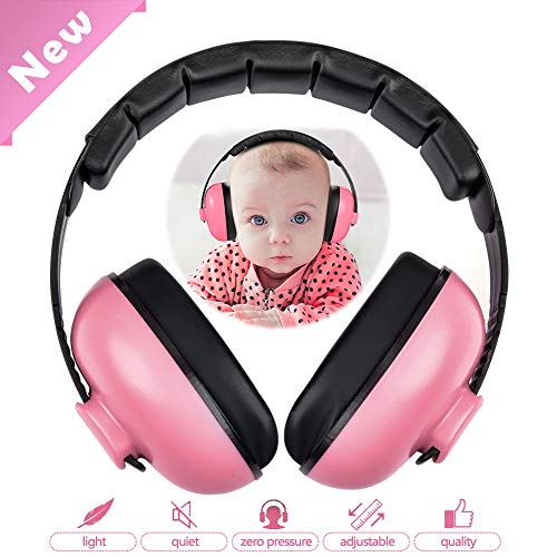 HOODO Baby Noise Cancelling Headphones,Baby Earmuffs,Hearing Protection Headphones,Baby Ear Protection-Ages 0-3 Years(Pink)