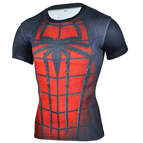 Mens Super Heros Spider Compression Fitness Sport Crewneck Tee Shirt Red (Bust Crew Halloween)