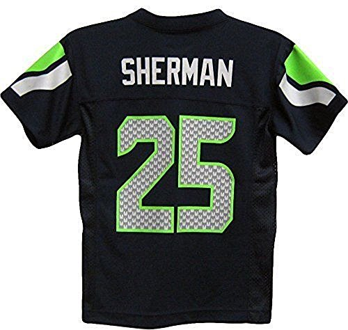 Seattle Seahawks Jersey (Richard Sherman Seattle Seahawks #25 NFL Youth Mid-Tier Team Color Jersey Navy (Youth Medium)