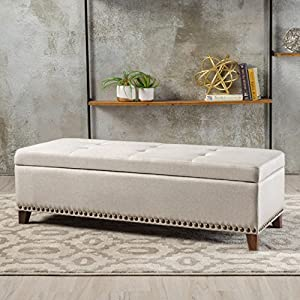 Christopher Knight Home Living Gisele Tufted Cover Beige Fabric Storage Ottoman