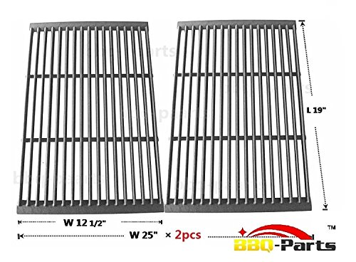 bbq-parts PCF662 Porcelain Cast Iron Cooking Grid Grate Replacement for Brinkmann, Charbroil and Charmglow and other Grills, Set of 2