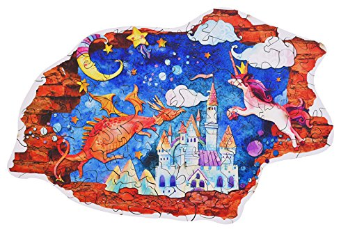 Hartmaze Wooden Jigsaw Puzzles - Castle with Fairy Tales HM-02 Irregular Unique Shape 73 Pieces for Kids and Adults- Best Gift and Keepsake for Children Game Play (Wooden Fairy Castle)