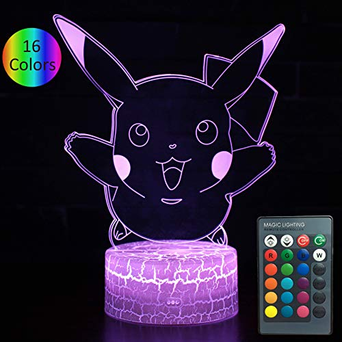 YOUNSH Pokemom Pikachu Light, Pikachu lamp 16 Colors Changing with Smart Touch Remote Control Kids Bedside Lamp Birthday Gift for Boys Girls]()