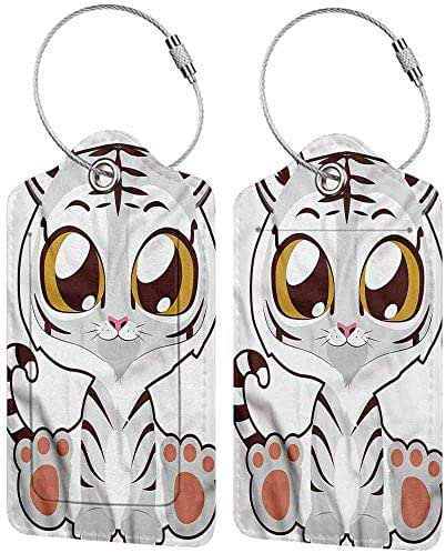 Kawaii Luggage Tags Personalized Little Albino Bengal Tiger Professional personality DIY printing 2 packs