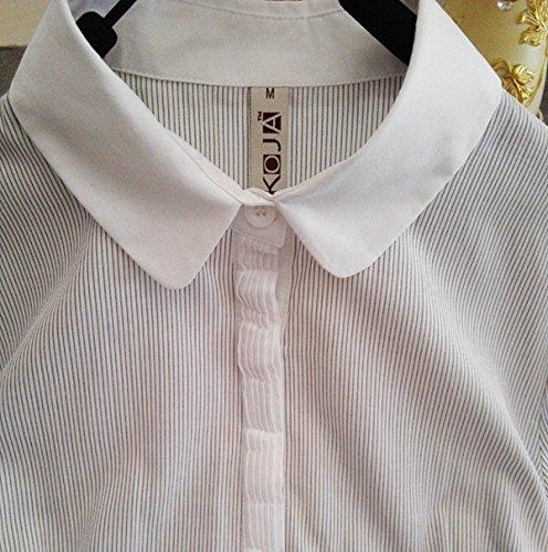 ZAMME Delgado OL de las mujeres del mono remata la blusa con botones camisas clásicas Striped B