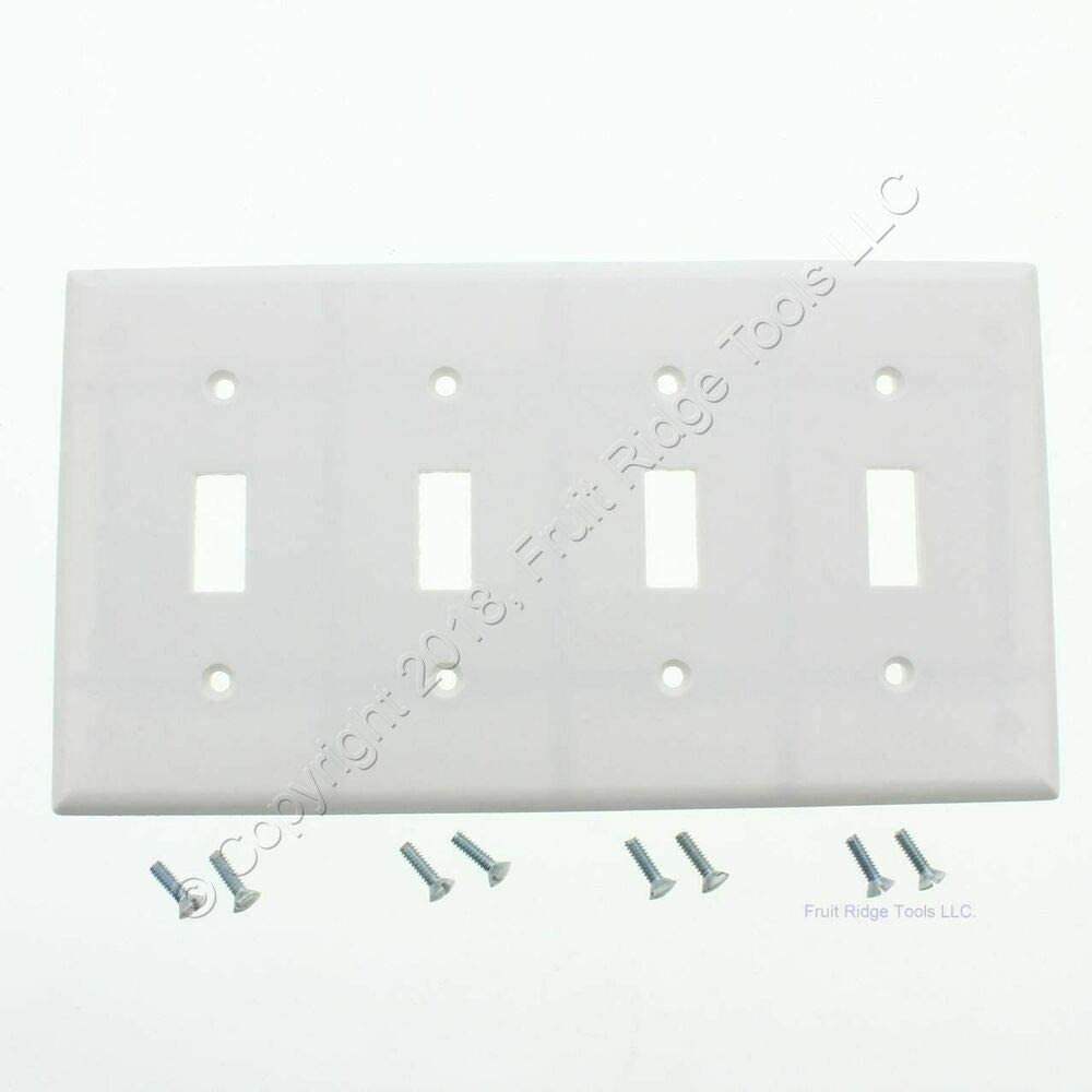 New Eagle White 4gang Toggle Light Switch Cover Wallplate Plastic Switchplate 2154w Amazon Com