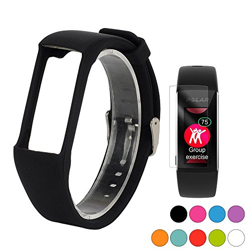 (TUSITA Band for Polar A360 A370 - Silicone Replacement Strap Bracelet Wristband with Screen Protector - Smart Watch Accessories(Black))