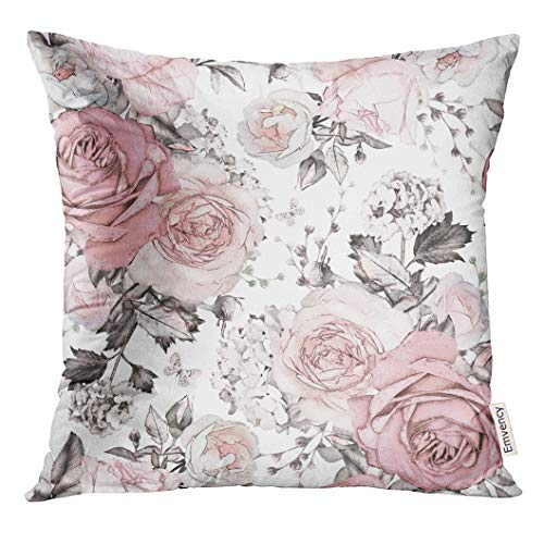 Golee Throw Pillow Cover Gray Abstract with Pink Flowers and Leaves on White Watercolor Floral Pattern Rose in Pastel Color Decorative Pillow Case Home Decor Square 18x18 Inches Pillowcase (Rose Pillow Pink Throw)