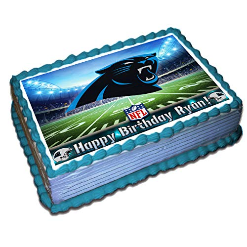 Carolina Panthers NFL Personalized Cake Topper Icing Sugar Paper 1/2 11.7 x 17.5 Inches Sheet Edible Frosting Photo Birthday Cake Topper (Best Quality Printing)