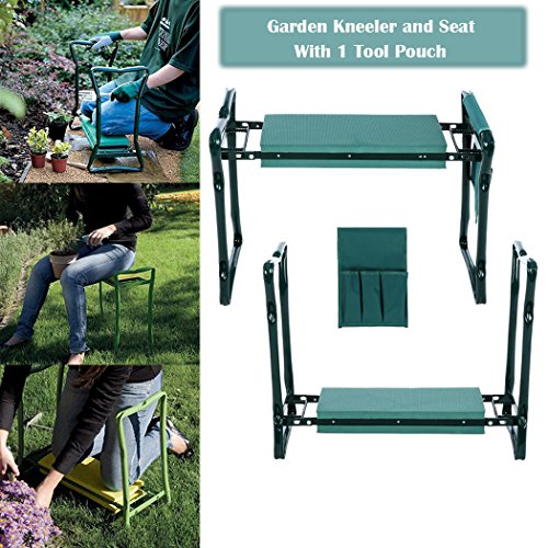 Garden Kneeler Bench, Foldable Garden Kneeler Seat with Tool Pouch and EVA Kneeling Pad Handles (Green) (Bench Pads Garden)