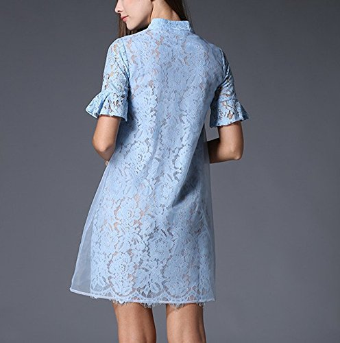 Bobbycool Le Collier De Style Folk Femme Cheongsam Robe Courte En Dentelle À Manches Bleu