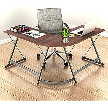 SHW L-Shaped Home Office Corner Desk Wood Top, Walnut