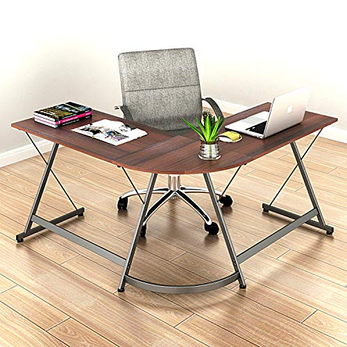 SHW L-Shaped Home Office Corner Desk Wood Top, Walnut