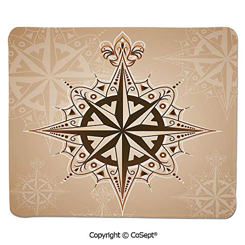 Quality Selection Comfortable Mouse Pad,Abstract Navigation Symbol Ancient Sailing Method Navigation Theme Print Decorative,for Computer,Laptop,Home,Office & Travel(11.81