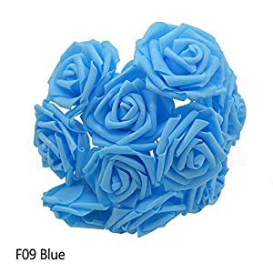 Awesome-experience 25 Heads 8Cm New Colorful Artificial Pe Foam Rose Flowers Bride Bouquet Home Wedding Decor Scrapbooking Supplies,F09Blue 91