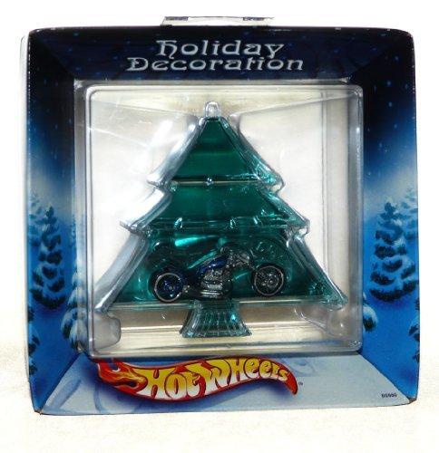 - 2002 Hot Wheels Christmas Ornament - Blue Chopper Motorcycle inside Christmas Tree