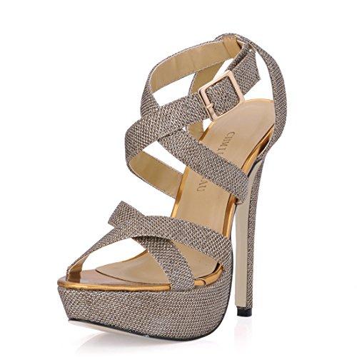 Scarpe Oro da CHAU Moda CHMILE b Donna Caviglia Sera Tacco Sexy da Partito Alto a Cinturino con Piattaforma Spillo Sandali alla 3cm ERq55dvw