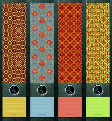 Motiv Pattern f/ür 12 breite Aktenordner als Kollektion von a-m-w-shop File Art Ordnerr/ücken Design Etiketten