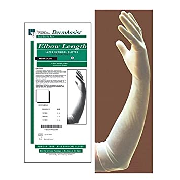 Amazon com: Elbow Length Powder-Free Latex Setrile Surgical Gloves