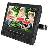 10.1'' Headrest DVD Player for Car & Home Use with Rechargeable Battery Support 5 Hours, Sync Screen, Last Memory, AV Out, USB SD