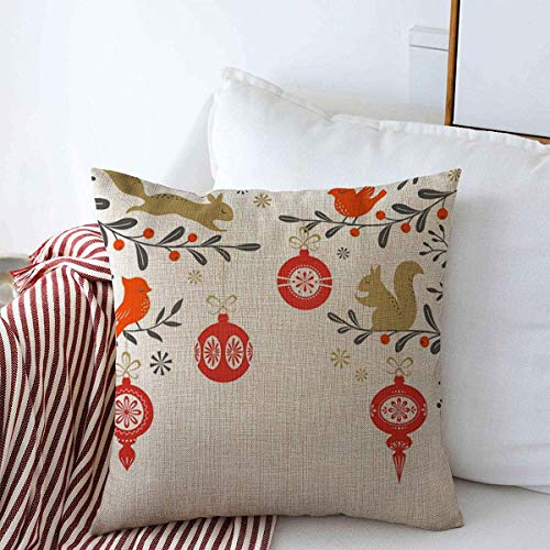 Pillow Case Mask Red Woodland Christmas Floral Birds Squirrel Snowflake Place is Cropped Clipping Winter Farmhouse Decorative Throw Pillows Covers 16