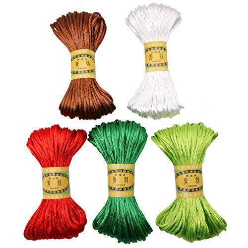 JETEHO 5 Pcs 100Yards 2mm Rattail Cord Satin Cord Nylon Cord String Chinese Knotting Cord for Necklace, Bracelet, Jewelry Making, Craft Hanging Stringing Materials ()