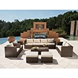 Supernova Outdoor Furniture 12 Pieces Garden Patio Sofa set | Wicker Rattan Sectional with Cushions | No Assembly Required | Aluminum Frame | Brown