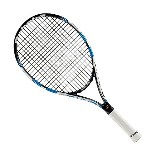Babolat Drive Junior 25 Inch Blue/Black Tennis Racquet (2015 Version) Strung with Custom Colored Tennis Racket String