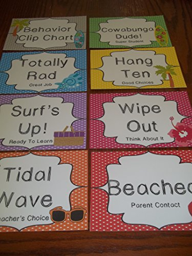 8 Laminated Surf themed Behavior Clip Chart Cards. Daycare supplies and accessories. Classroom Behavior Management ()