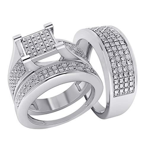 Trillion Jewels 0.24ct Natural Diamond (Clarity I2-I3/Colour I-J) S925 Trio Wedding Band Engagement Ring Set Him 10/ Her 7