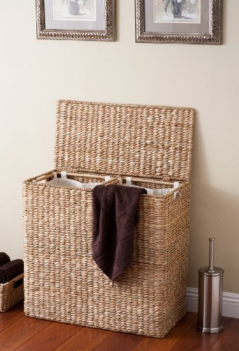 BirdRock Home Oversized Divided Hamper with Liners (Honey)   Made of Natural Woven Seagrass Fiber   Organize Laundry   Cut-Out Handles for Easy Transport   Includes 2 Machine Washable Canvas Liners