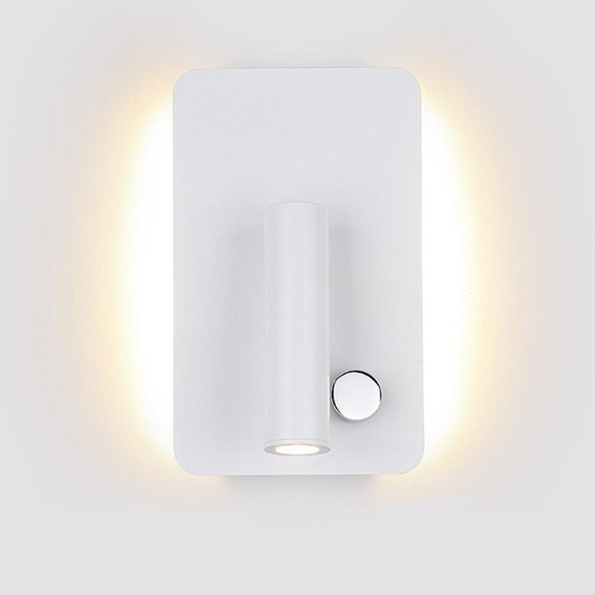 Azanaz Applique da parete LED a incasso per lettura , lampada da parete da notte per lettura , Luce LED da lettura ,Proiettore LED rotazione a 350 gradi da per vicino letto , Divano , Comodino (13cm - Bianco) [Classe di efficienza energetica A+] MERLONG