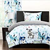 2 Piece Multi Kids Puppy Themed Comforter Twin Set, All Over Funny Playful Puppies Pattern, Pet Lovers Bedding, Adorable Animals Design, Beautiful Large Paw Prints, Solid Grey Reversible Bedding