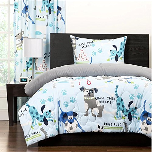 2 Piece Multi Kids Puppy Themed Comforter Twin Set, All Over Funny Playful Puppies Pattern, Pet Lovers Bedding, Adorable Animals Design, Beautiful Large Paw Prints, Solid Grey Reversible Bedding by D&H