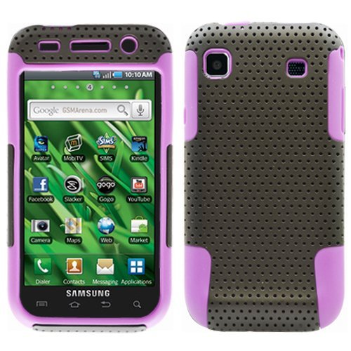 Black Purple 2 in 1 Hybrid Rubber Plastic Skin Case Cover for Samsung Galaxy S Vibrant T959/ Samsung Galaxy S 4g/ T-mobile