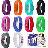 Yunanwa 10 Pack Wholesale Silicone Rubber Gel Jelly Unisex LED Wrist Watch Bracelet Men Women