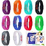 Yunanwa 10 Pack Wholesale Silicone Rubber Gel Jelly Unisex LED Wrist Watch Bracelet Men Women
