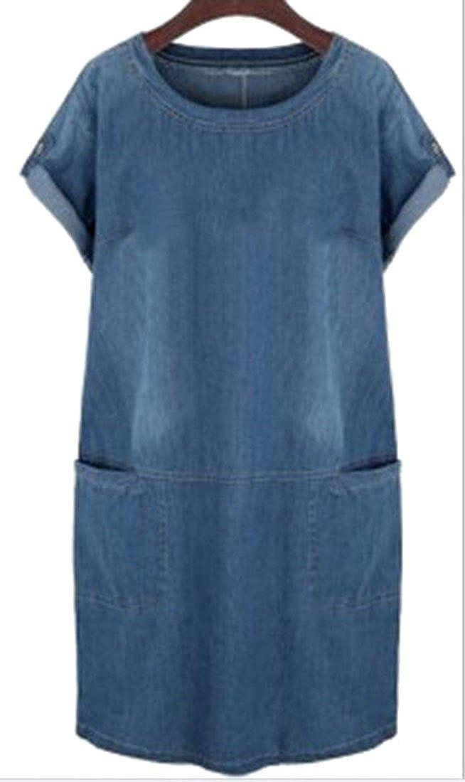 Fashciaga Women's Short-Sleeved Denim Dress