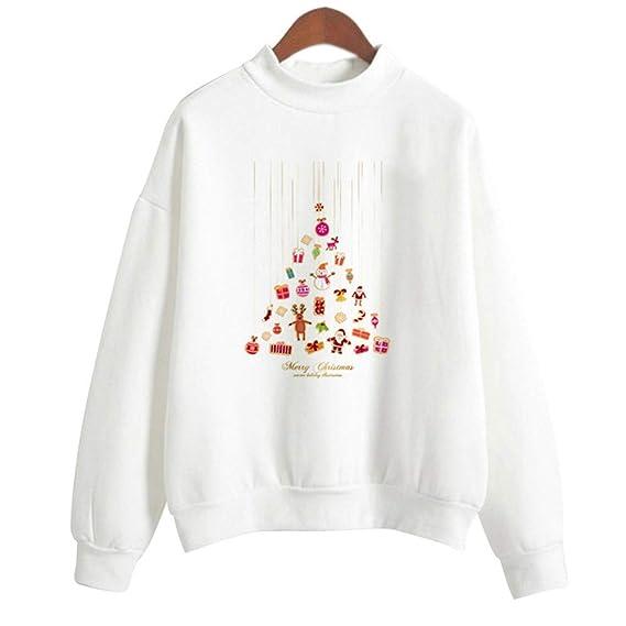 Huixin Feliz Navidad Mujeres Santa Claus Imprimir Fiesta Active Tops Vintage Pullover Sudadera Blusa Camisa Outwear (Color : Y-White6, Size : 2XL): Amazon.es: Ropa y accesorios
