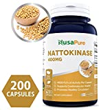 Pure Nattokinase 400 mg 200 Capsules 4000 FU (Non-GMO & Gluten Free) Supports Cardiovascular Health, Natural Blood Thinner - Proudly Made in USA - 100% Money Back Guarantee - Order Risk Free!