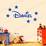 DISNEY STYLE PERSONALISED NAME & STARS BEDROOM VINYL WALL ART DECAL STICKER 14 COLOURS AVAILABLE ***PLEASE MESSAGE US WITH NAME *** (BLUE, 20 CM X 60 CM)