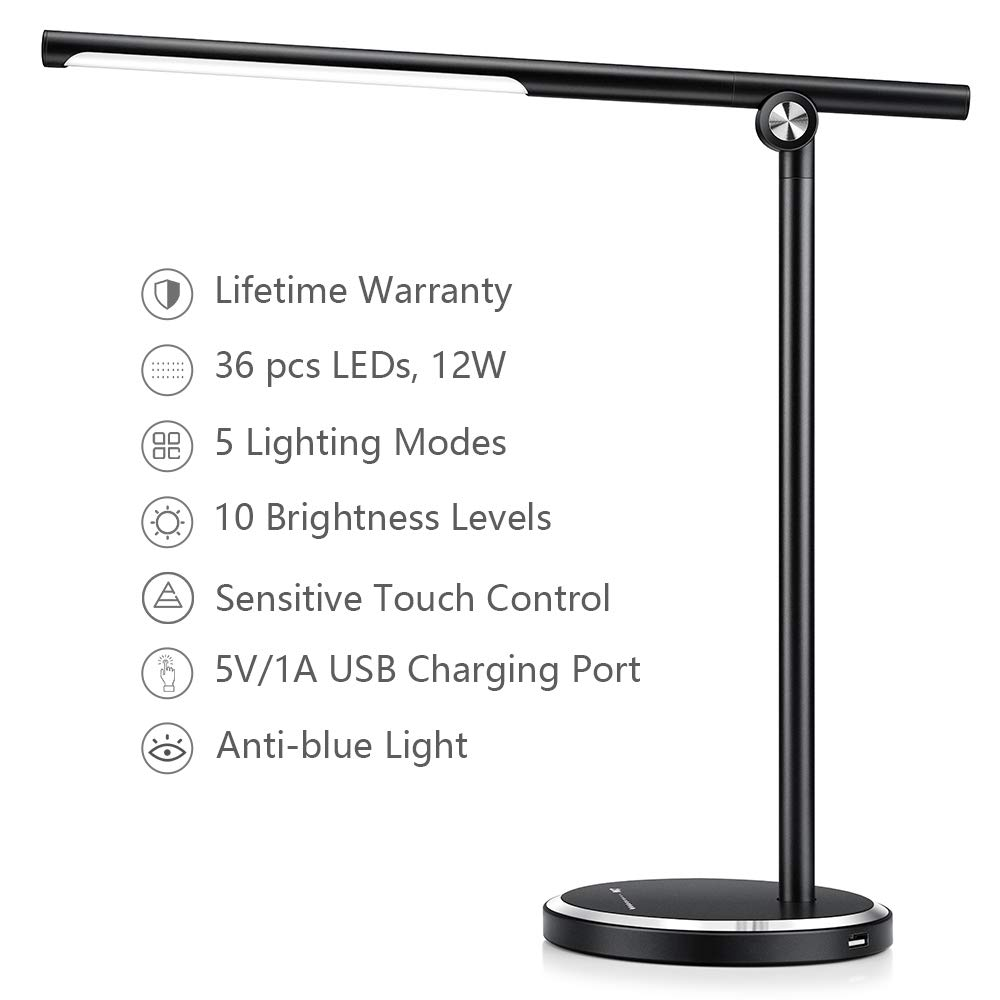 JUKSTG Desk lamp, 36 pcs LEDs 12W Dimmable Led Metal Table Lamps, Office Lamp with 10 Brightness Levels,5 Lighting Modes,USB Charging Port,Sensitive Touch Control,Eye-Caring Folding Desk Light,Black by JUKSTG