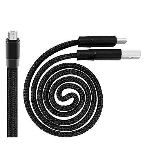 2' Media (WorCord Micro USB Cable Magic Retractable [Auto Storage] 2 ft Nylon Braided Cable Micro USB Charging Cable for Android Smartphones, Tablets, MP3 Players and More Micro USB Devices 0.6M - Black)