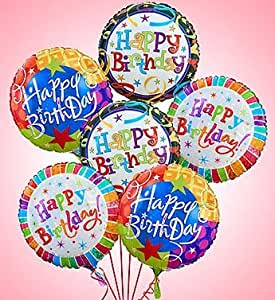 Air-Rangement - Birthday Mylar Balloons Half Dozen Balloons by 1-800 Flowers