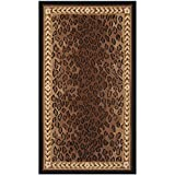 D&H 2'9'' x4'9 Brown Black Leopard Dots Printed Runner Rug, Indoor Graphical Pattern Living Room Rectangle Carpet, Africa Themed, Soft Wool Material, Wild Animals Exotic Jungle Zoo Safari Outback