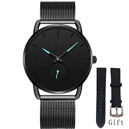 Mens Watch Black Ultra Thin Wrist Watches for Men Minimalist Fashion Waterproof Dress Stainless Steel Mesh Band Watch